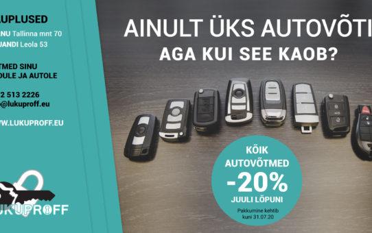 Kõik autovõtmed -20% kuni 31.07.2020